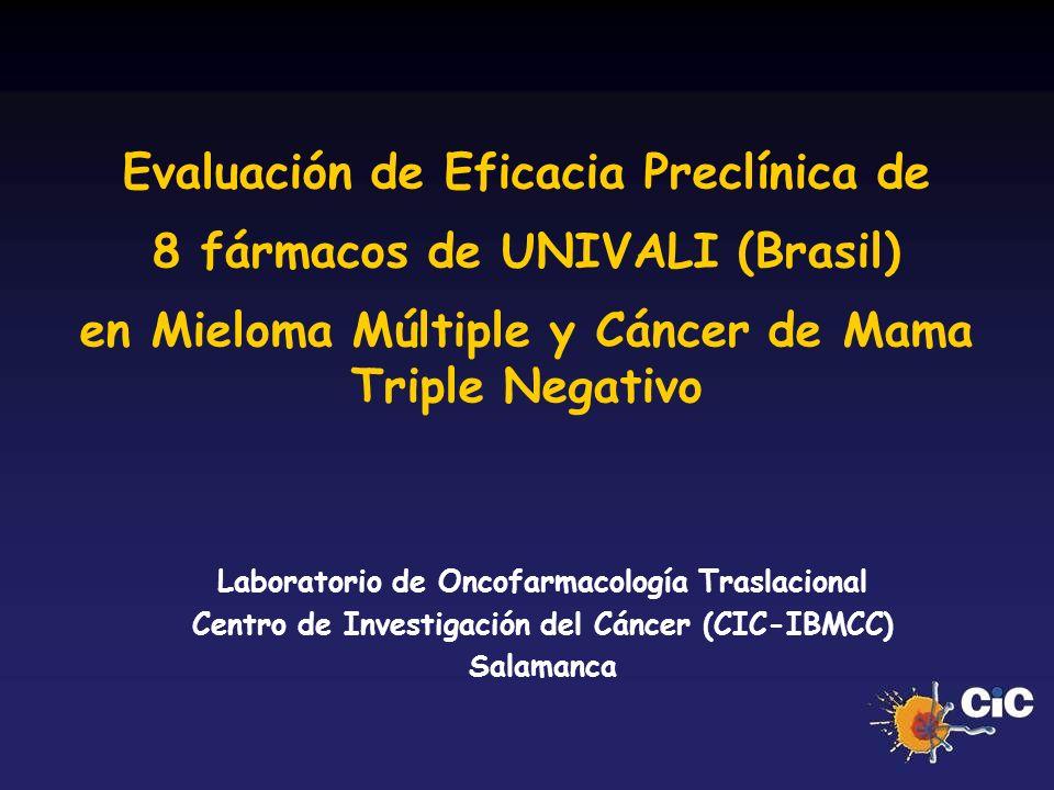 Evaluación de Eficacia Preclínica de 8 fármacos de UNIVALI (Brasil)