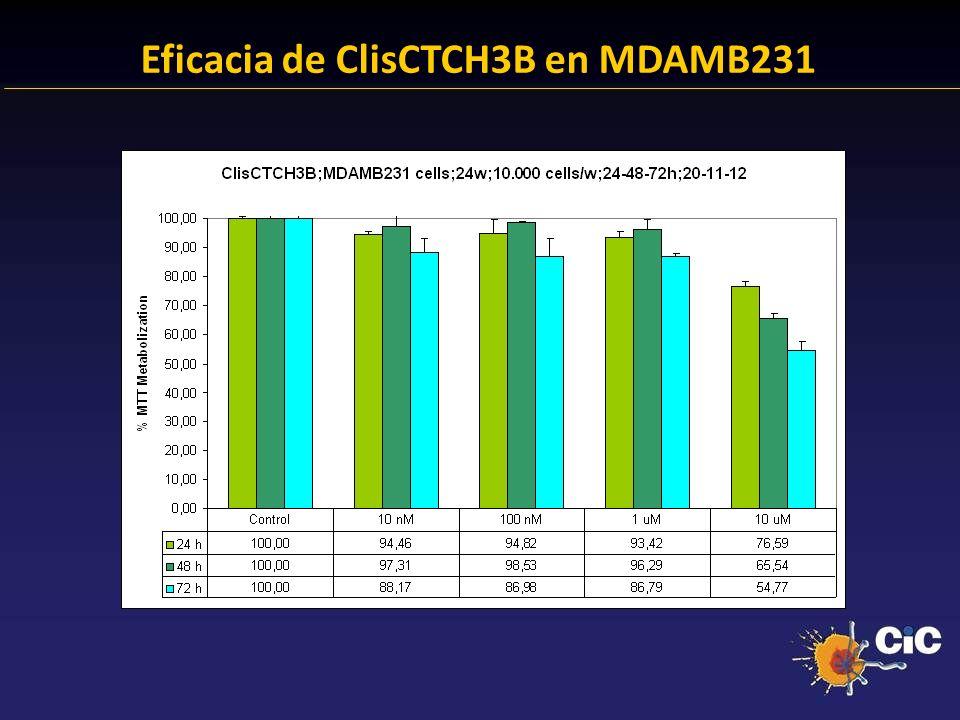 Eficacia de ClisCTCH3B en MDAMB231