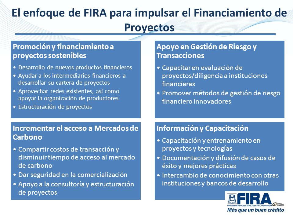 El enfoque de FIRA para impulsar el Financiamiento de Proyectos