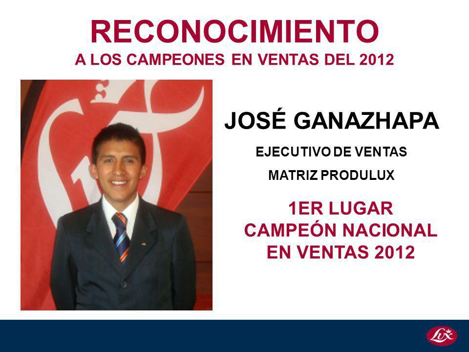 A LOS CAMPEONES EN VENTAS DEL 2012