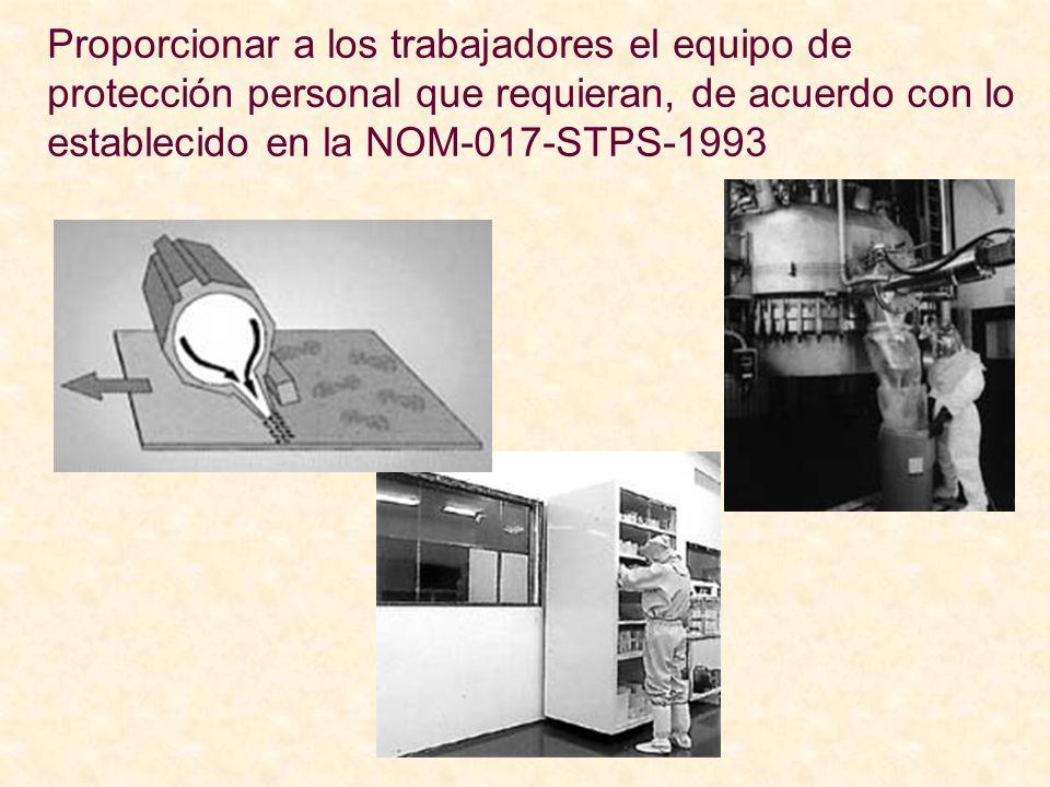 Proporcionar a los trabajadores el equipo de protección personal que requieran, de acuerdo con lo establecido en la NOM-017-STPS-1993