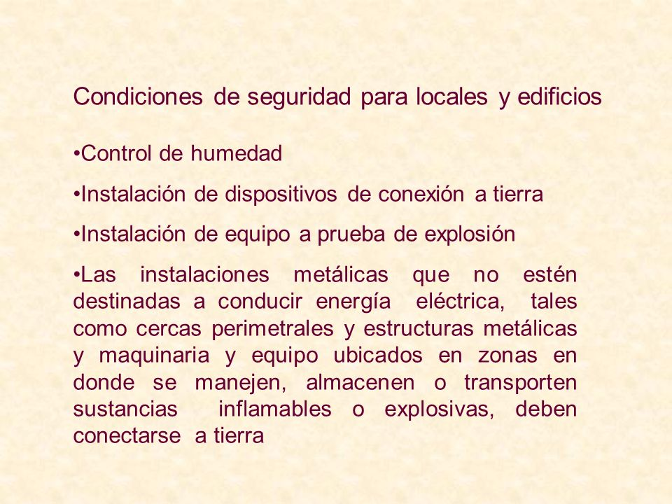 Condiciones de seguridad para locales y edificios