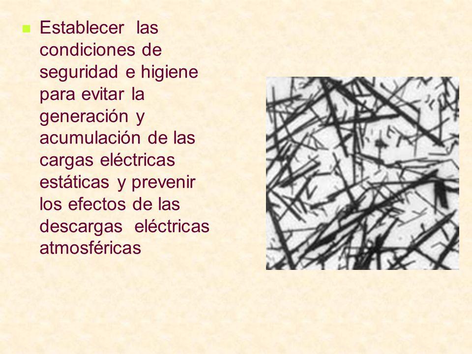 Establecer las condiciones de seguridad e higiene para evitar la generación y acumulación de las cargas eléctricas estáticas y prevenir los efectos de las descargas eléctricas atmosféricas