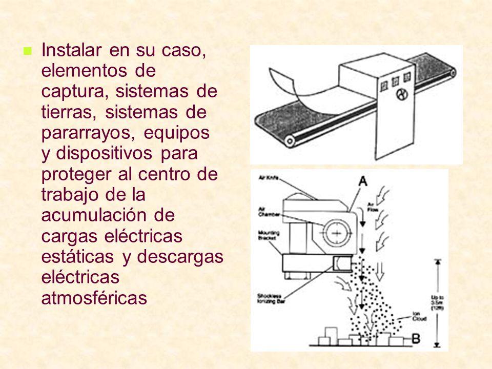 Instalar en su caso, elementos de captura, sistemas de tierras, sistemas de pararrayos, equipos y dispositivos para proteger al centro de trabajo de la acumulación de cargas eléctricas estáticas y descargas eléctricas atmosféricas