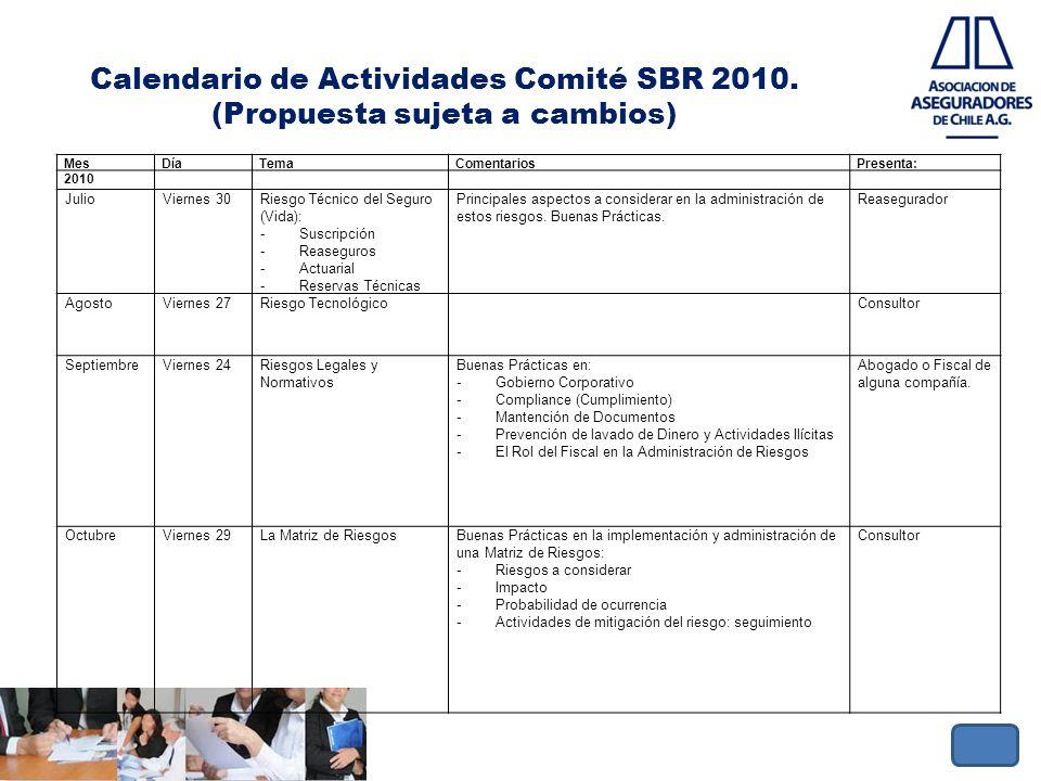 Calendario de Actividades Comité SBR 2010. (Propuesta sujeta a cambios)