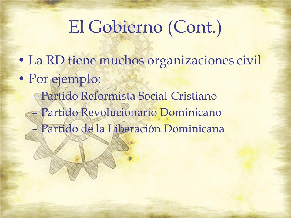 El Gobierno (Cont.) La RD tiene muchos organizaciones civil