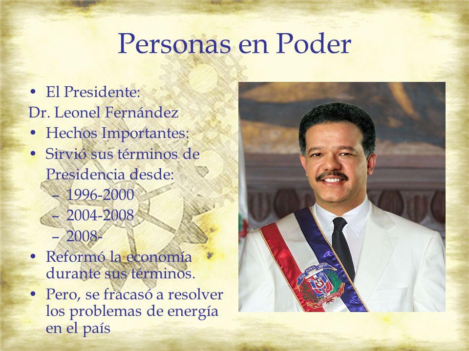 Personas en Poder El Presidente: Dr. Leonel Fernández