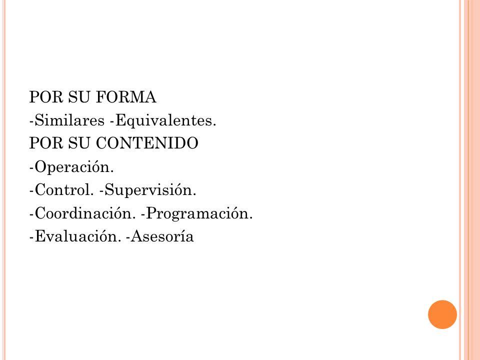 POR SU FORMA -Similares -Equivalentes. POR SU CONTENIDO. -Operación. -Control. -Supervisión. -Coordinación. -Programación.