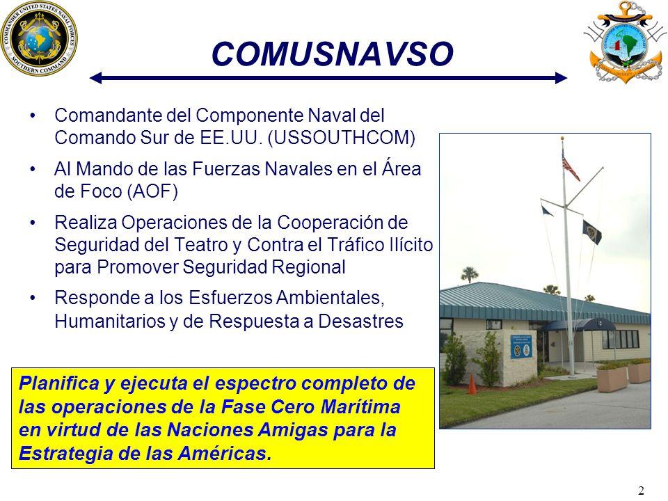 COMUSNAVSO Comandante del Componente Naval del Comando Sur de EE.UU. (USSOUTHCOM) Al Mando de las Fuerzas Navales en el Área de Foco (AOF)
