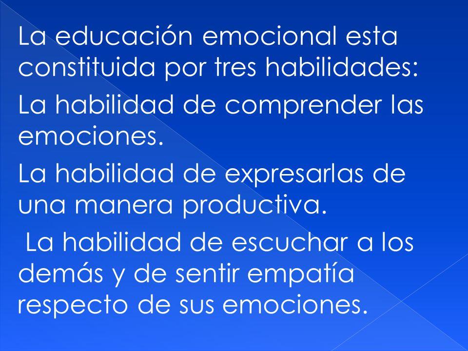 La educación emocional esta constituida por tres habilidades: La habilidad de comprender las emociones.