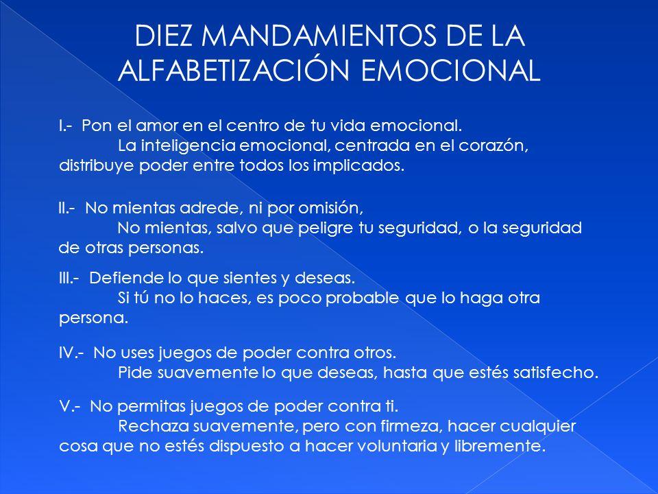DIEZ MANDAMIENTOS DE LA ALFABETIZACIÓN EMOCIONAL