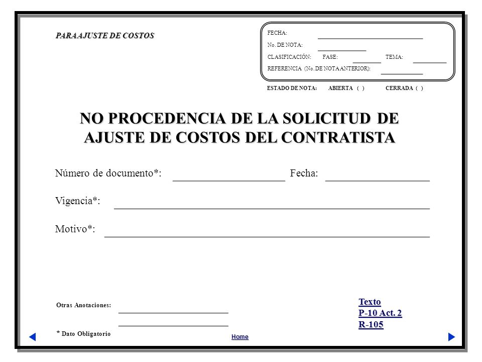 NO PROCEDENCIA DE LA SOLICITUD DE AJUSTE DE COSTOS DEL CONTRATISTA