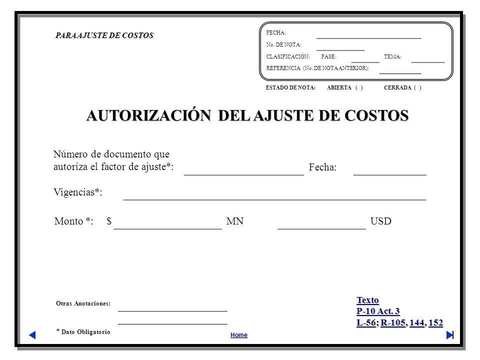 AUTORIZACIÓN DEL AJUSTE DE COSTOS