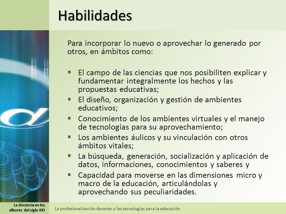 Habilidades Para incorporar lo nuevo o aprovechar lo generado por otros, en ámbitos como: