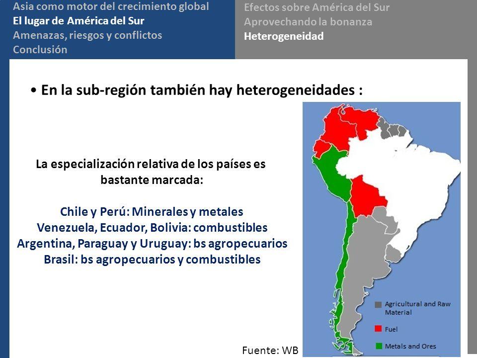 En la sub-región también hay heterogeneidades :