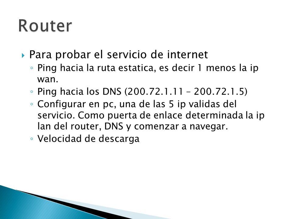Router Para probar el servicio de internet