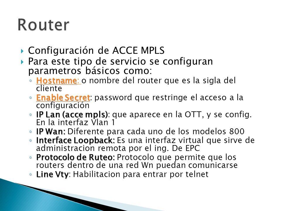 Router Configuración de ACCE MPLS