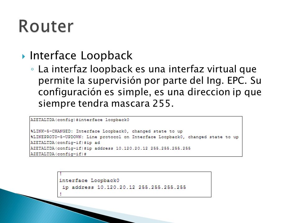 Router Interface Loopback
