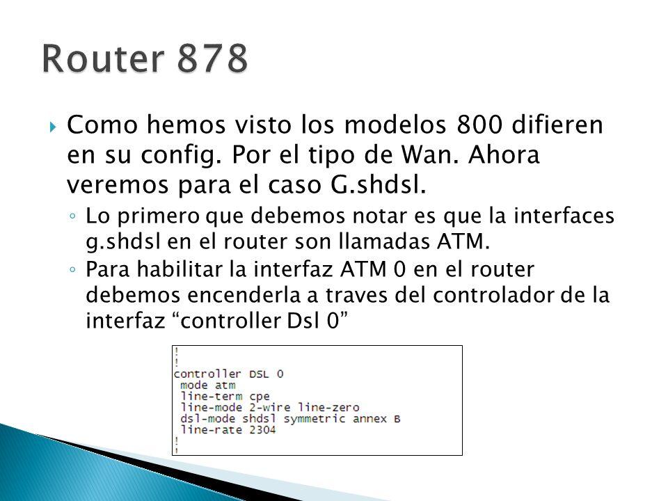 Router 878 Como hemos visto los modelos 800 difieren en su config. Por el tipo de Wan. Ahora veremos para el caso G.shdsl.