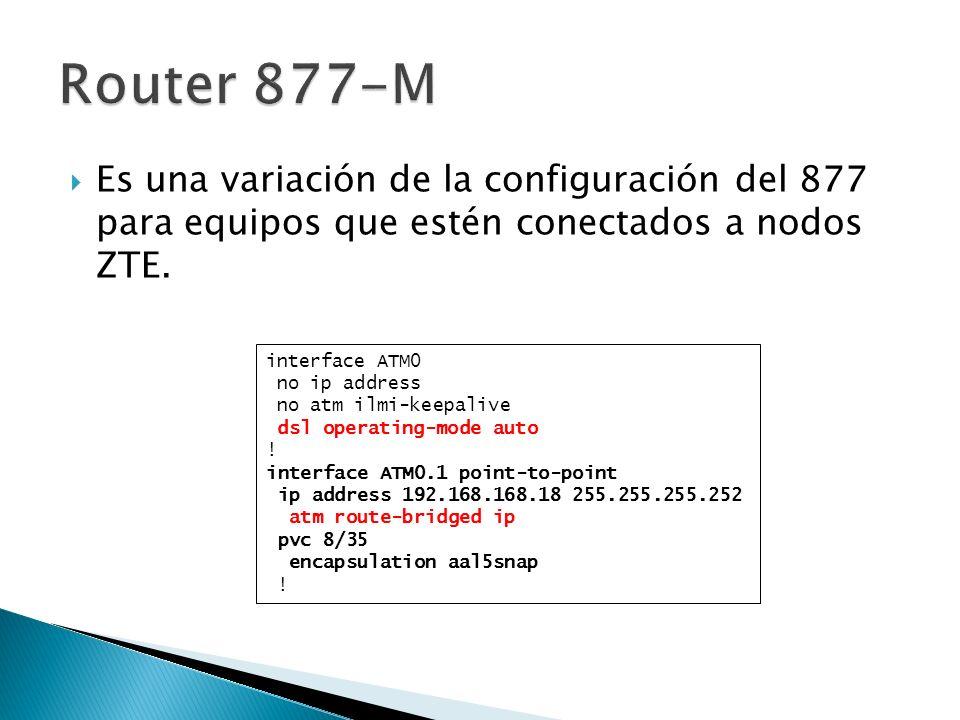 Router 877-M Es una variación de la configuración del 877 para equipos que estén conectados a nodos ZTE.