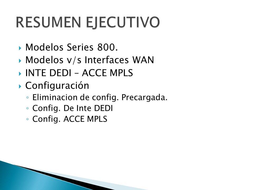 RESUMEN EJECUTIVO Modelos Series 800. Modelos v/s Interfaces WAN