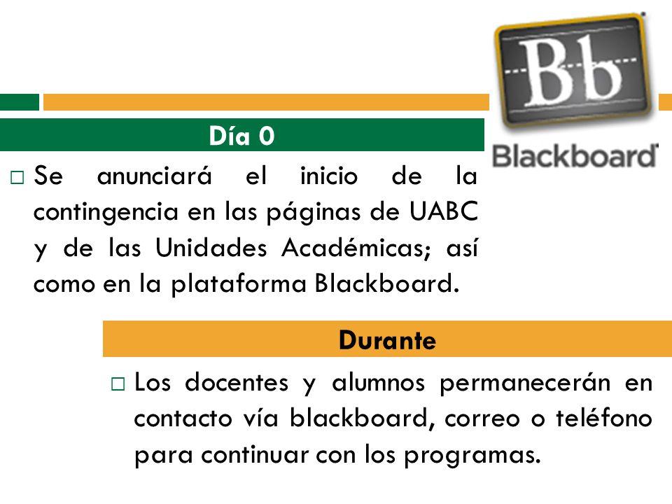 Día 0 Se anunciará el inicio de la contingencia en las páginas de UABC y de las Unidades Académicas; así como en la plataforma Blackboard.