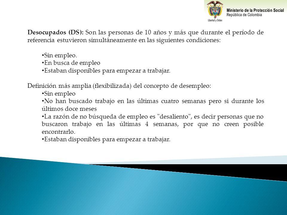 Desocupados (DS): Son las personas de 10 años y más que durante el período de referencia estuvieron simultáneamente en las siguientes condiciones: