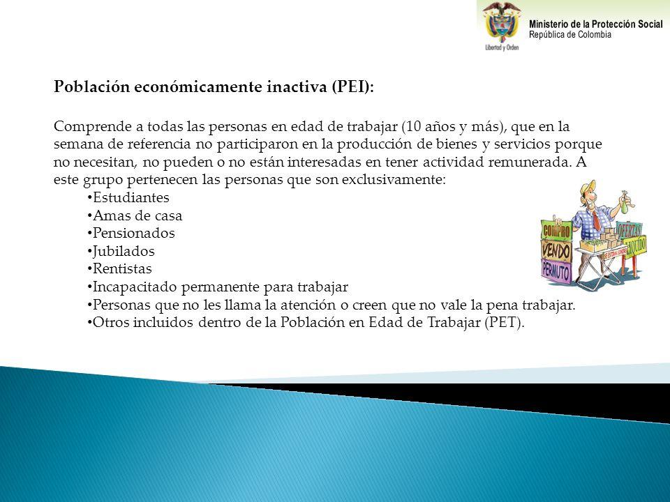 Población económicamente inactiva (PEI):