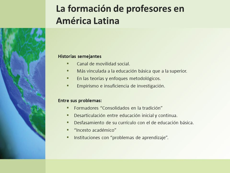 La formación de profesores en América Latina