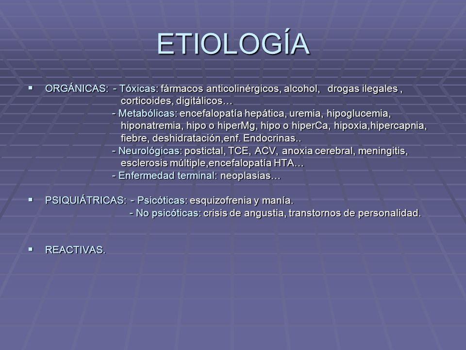 ETIOLOGÍA ORGÁNICAS: - Tóxicas: fármacos anticolinérgicos, alcohol, drogas ilegales , corticoides, digitálicos…