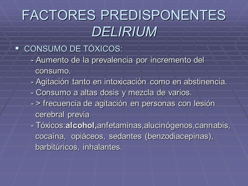 FACTORES PREDISPONENTES DELIRIUM