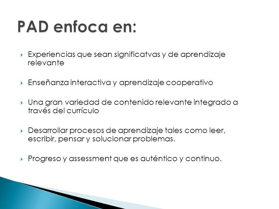PAD enfoca en: Experiencias que sean significatvas y de aprendizaje relevante. Enseñanza interactiva y aprendizaje cooperativo.