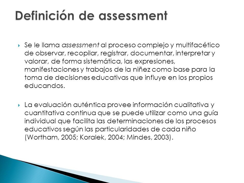 Definición de assessment