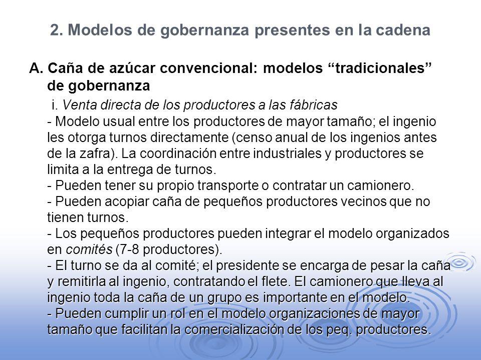 2. Modelos de gobernanza presentes en la cadena