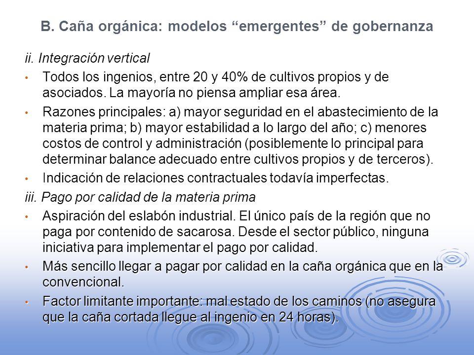 B. Caña orgánica: modelos emergentes de gobernanza