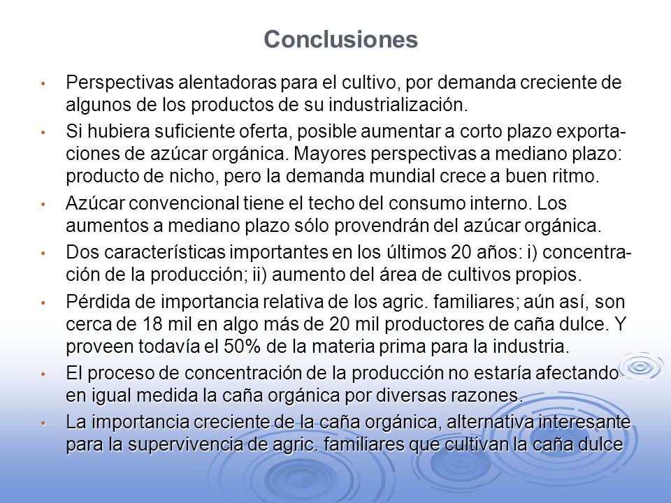 Conclusiones Perspectivas alentadoras para el cultivo, por demanda creciente de algunos de los productos de su industrialización.