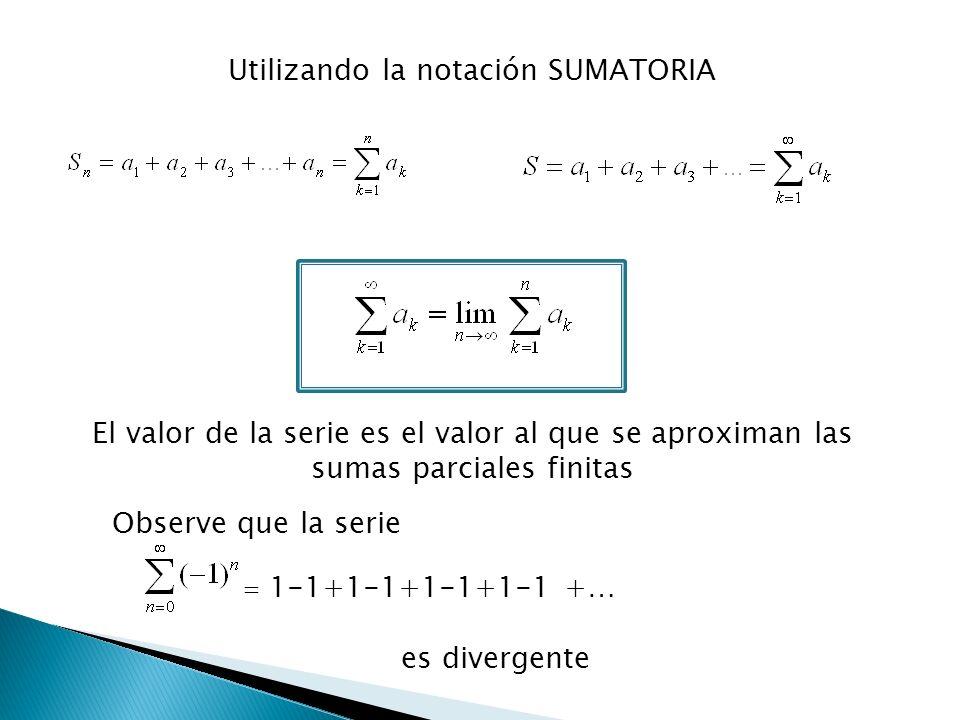 Utilizando la notación SUMATORIA