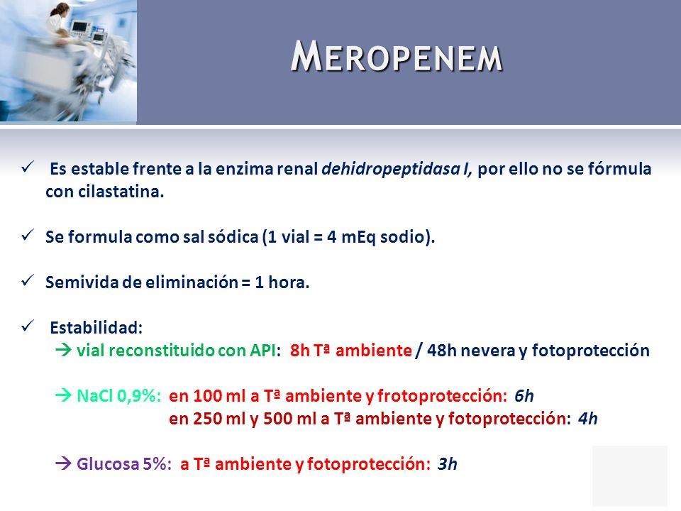 Meropenem Es estable frente a la enzima renal dehidropeptidasa I, por ello no se fórmula con cilastatina.