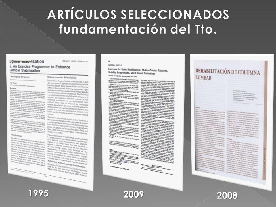 ARTÍCULOS SELECCIONADOS fundamentación del Tto.