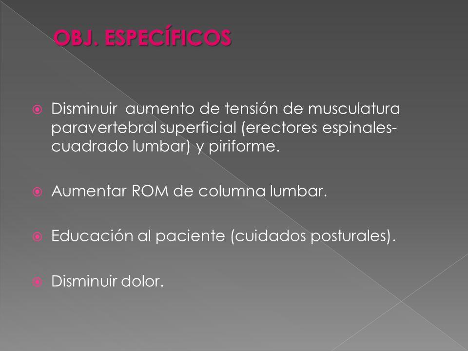 OBJ. ESPECÍFICOS Disminuir aumento de tensión de musculatura paravertebral superficial (erectores espinales-cuadrado lumbar) y piriforme.