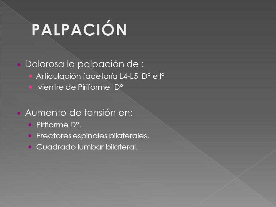 PALPACIÓN Dolorosa la palpación de : Aumento de tensión en: