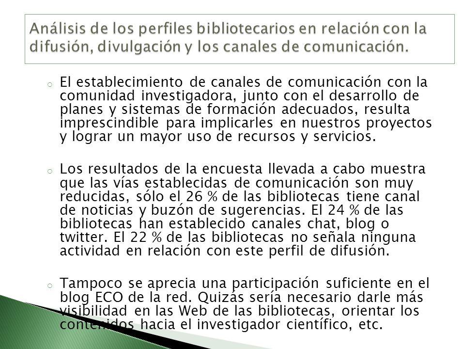 Análisis de los perfiles bibliotecarios en relación con la difusión, divulgación y los canales de comunicación.