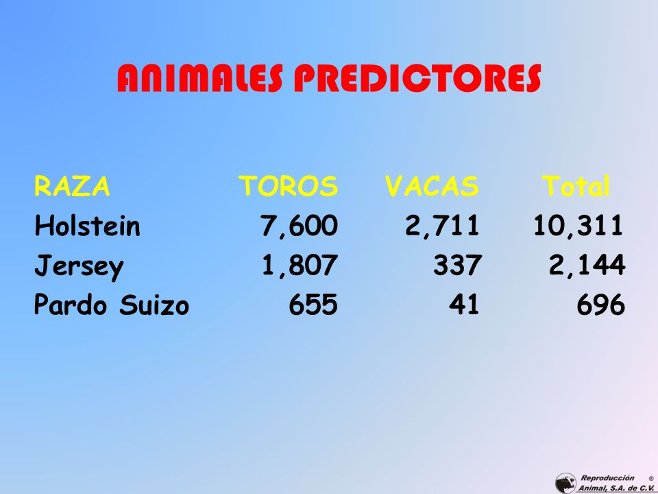 ANIMALES PREDICTORES RAZA TOROS VACAS Total Holstein 7,600 2,711