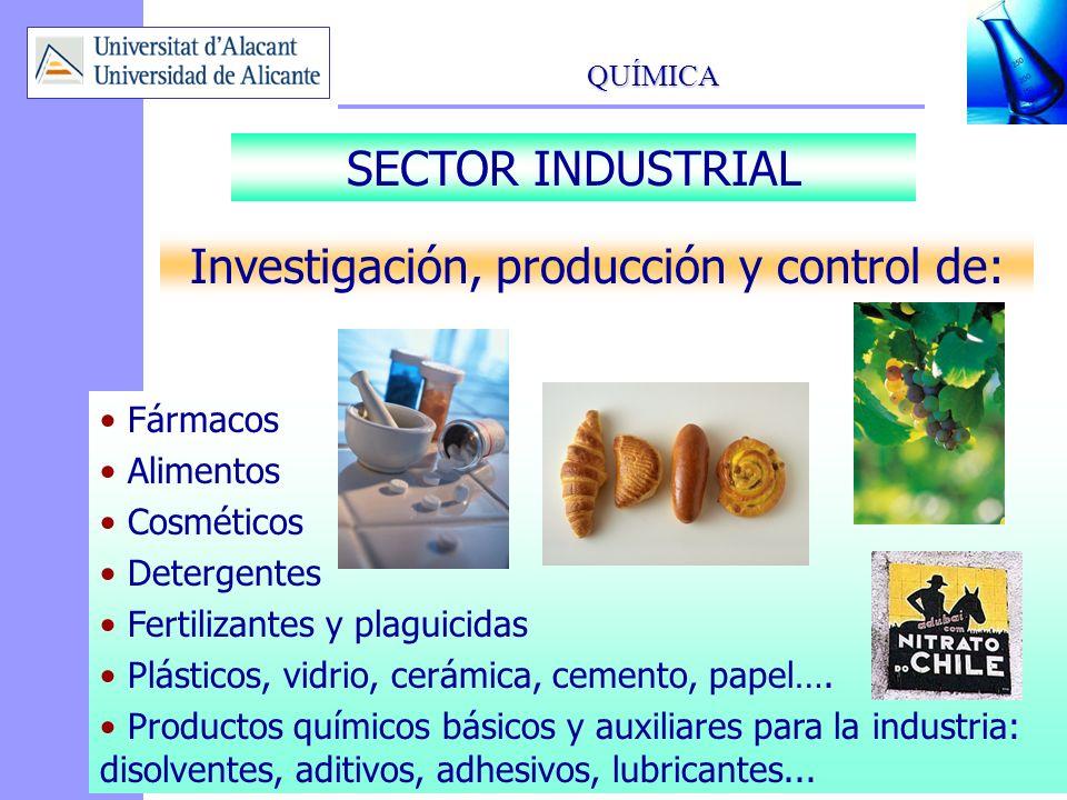 Investigación, producción y control de: