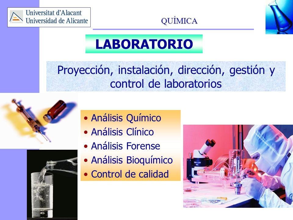 Proyección, instalación, dirección, gestión y control de laboratorios