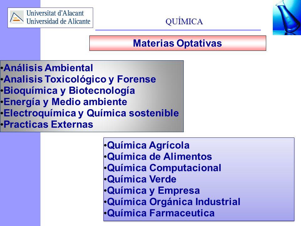 Materias OptativasAnálisis Ambiental. Analisis Toxicológico y Forense. Bioquímica y Biotecnología. Energía y Medio ambiente.