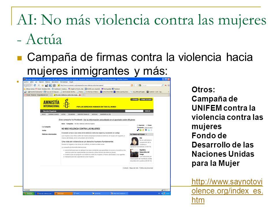 AI: No más violencia contra las mujeres - Actúa