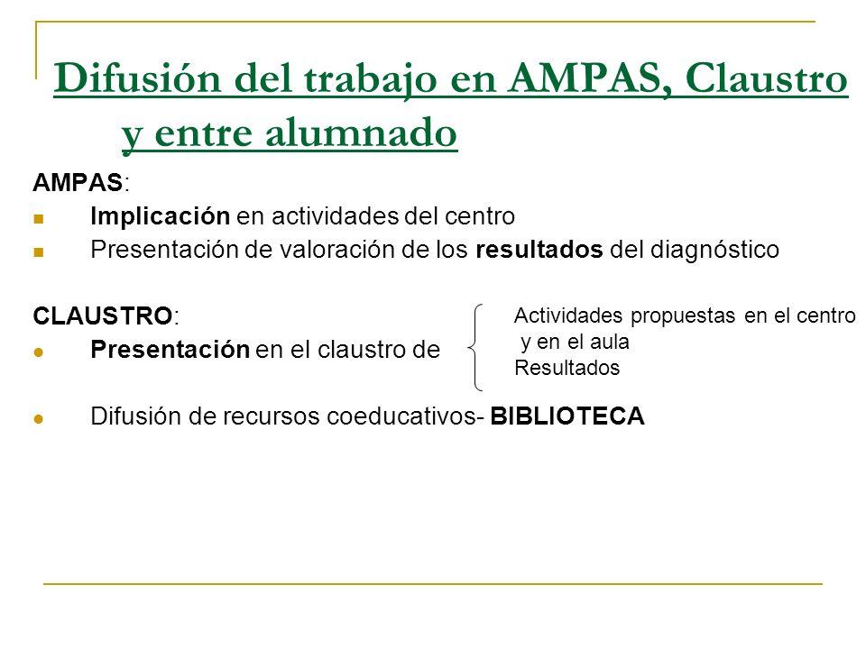 Difusión del trabajo en AMPAS, Claustro y entre alumnado