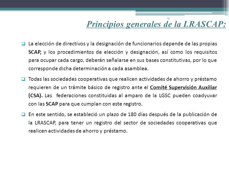 Principios generales de la LRASCAP: