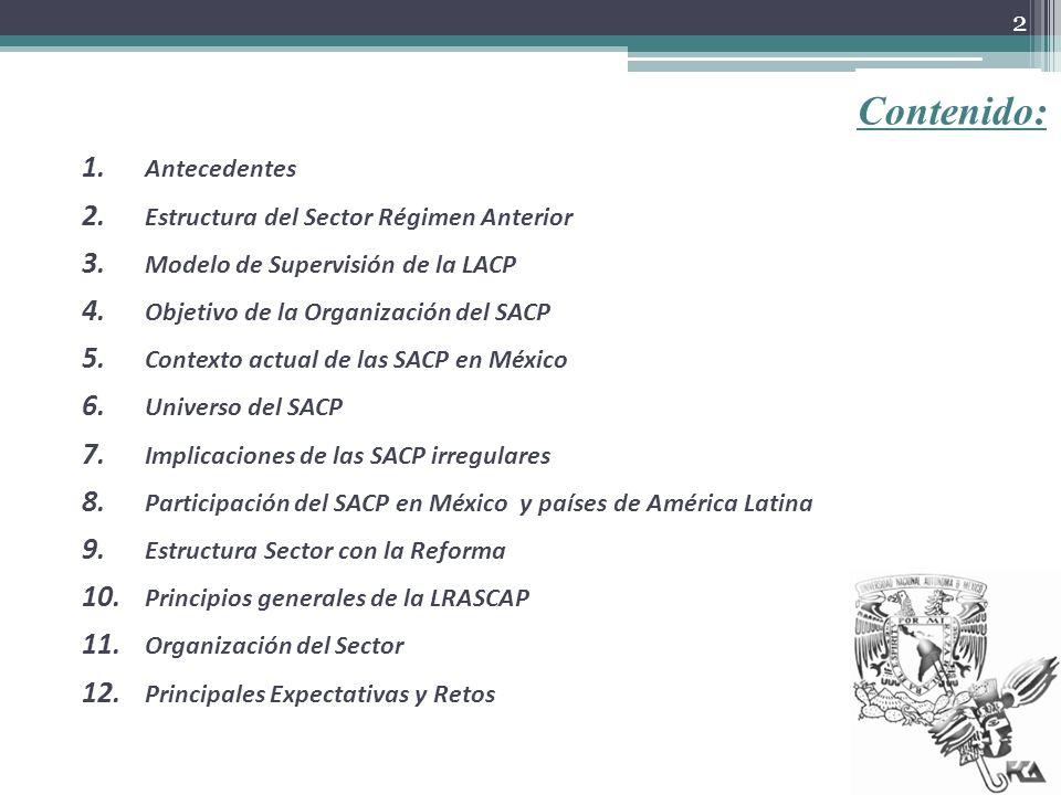 Contenido: Antecedentes Estructura del Sector Régimen Anterior